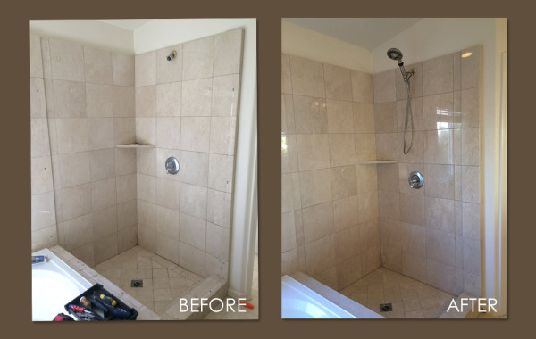 Damaged Marble Shower Cleaned and Sealed