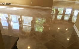 Marble Floor Gets Glossy Finish